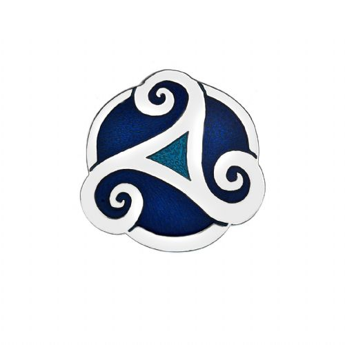 Celtic Triskele Blue Brooch Silver Plated Brand New Gift Packaging